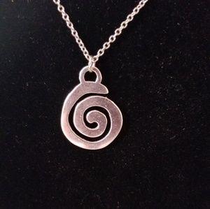 Silver Boho Chic Swirl Necklace